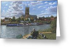 Fishing With Oscar - Doncaster Minster Greeting Card