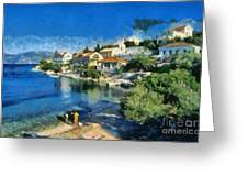 Fiskardo Beach In Kefallonia Island Greeting Card