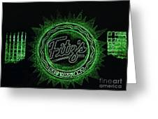 Fitz's In Green Neon  Greeting Card