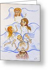 Five Angels Hanging Around  Greeting Card