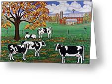 Five Black And White Cows Greeting Card