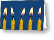 Five Candles Burning Greeting Card