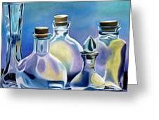 Five Clear Bottles Greeting Card