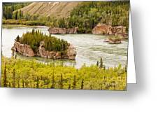 Five Finger Rapids Of Yukon River Yukon T Canada Greeting Card
