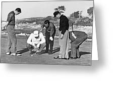 Five Golfers Looking At A Ball Greeting Card