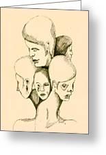 Five Headed Figure Greeting Card