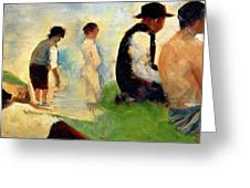 Five Male Figures Possible Preparatory Sketch For The ''bathers At Asnieres.'' Greeting Card