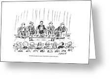 Five Men Sit On A Stage In Front Of An Audience Greeting Card