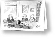 Five People Sit Around A Conference Table Greeting Card