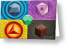 Five Platonic Solids - Fire Greeting Card
