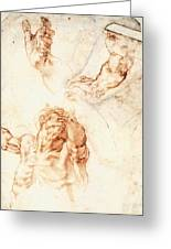 Five Studies For The Figure Of Haman Greeting Card