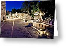 Five Well Square In Zadar Evening View Greeting Card