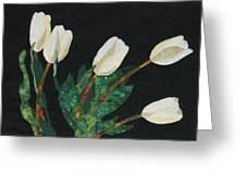 Five White Tulips  Greeting Card by Lynda K Boardman
