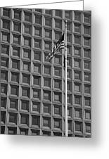 Flag And Windows In Black And White Greeting Card