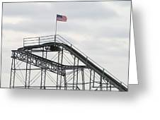 Flag Mounted On Seaside Heights Roller Coaster Greeting Card