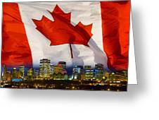 Flag Of Canada Over Albertas Capital Greeting Card