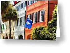 Flag Of Charleston With Palmetto And Crescent Moon Greeting Card