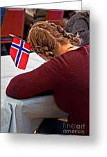 Flag Of Norway In Girls' Braided Hair Art Prints Greeting Card