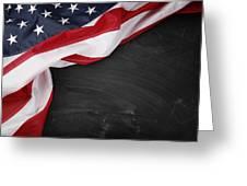 Flag On Blackboard Greeting Card