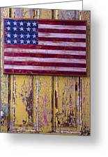 Flag On Old Yellow Door Greeting Card