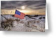 Flag On The Beach Greeting Card by Michael Thomas
