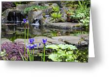 Flags And A Pond Greeting Card