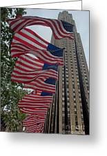 Flags At Rokefeller Plaza Greeting Card
