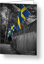 Flags Of Sweden Greeting Card