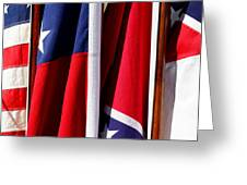 Flags Of The North And South Greeting Card by Joe Kozlowski