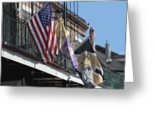 Flags On Bourbon Street Greeting Card