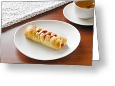 Flaky Pastry With Cherry Jam Greeting Card