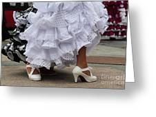 Flamenco Dancer In White Greeting Card