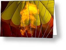 Flames Heating Up Hot Air Balloon Greeting Card