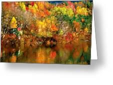 Flaming Autumn Abstract Greeting Card