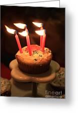Flaming Birthday Cupcake Closeup Greeting Card by Robert D  Brozek