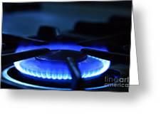 Flaming Blue Gas Stove Burner Greeting Card