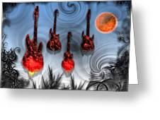 Flaming Guitars Greeting Card