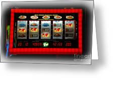 Flaming Sevens Slots Greeting Card