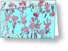 Flamingo A Go Go Greeting Card