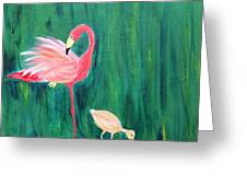 Flamingo And Chick Greeting Card