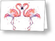 Flamingo Love Watercolor Greeting Card by Olga Shvartsur