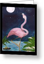 Flamingo Moon Frog Cathy Peek Tropical Bird Greeting Card