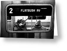 Blues Guitarist Heading To Flatbush  Greeting Card