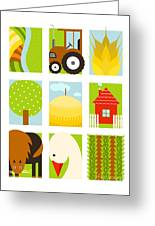 Flat Childish Rectangular Agriculture Greeting Card