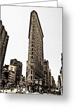Flat Iron Building In Sepia Greeting Card