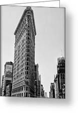 Flat Iron In Black And White Greeting Card by Bill Cannon