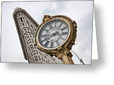 Flatiron And Clock Greeting Card