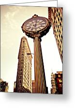 Flatiron Building And 5th Avenue Clock Greeting Card