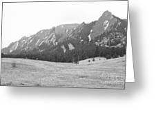 Flatirons Boulder Colorado Winter View Bw Greeting Card
