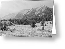 Flatirons In Winter - Black And White Greeting Card